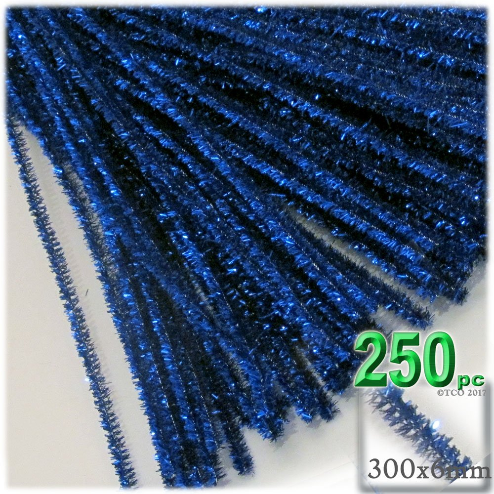 The Crafts Outlet Chenille Sparkly Stems, Pipe Cleaner, 12-in (30-cm), 250-pc, Royal Blue