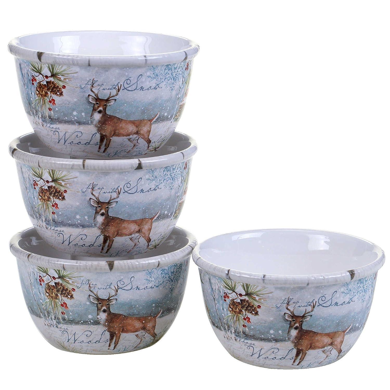Winter Lodge Susan Winget Ice Cream Bowl Woodland Deer 5.5 x 3 Set of 4