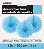 Mini Baby Blue Tissue Paper Fan Decorations, Pack of 3