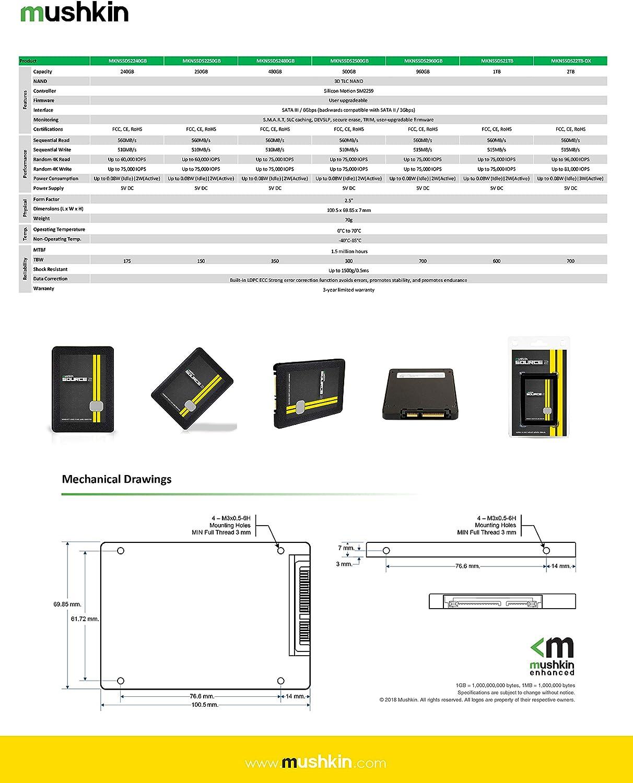 3D Vertical TLC MKNSSDS2250GB - 2.5 Inch 250GB Internal Solid State Drive Mushkin Source-II 7mm SATA III SSD 6Gb//s