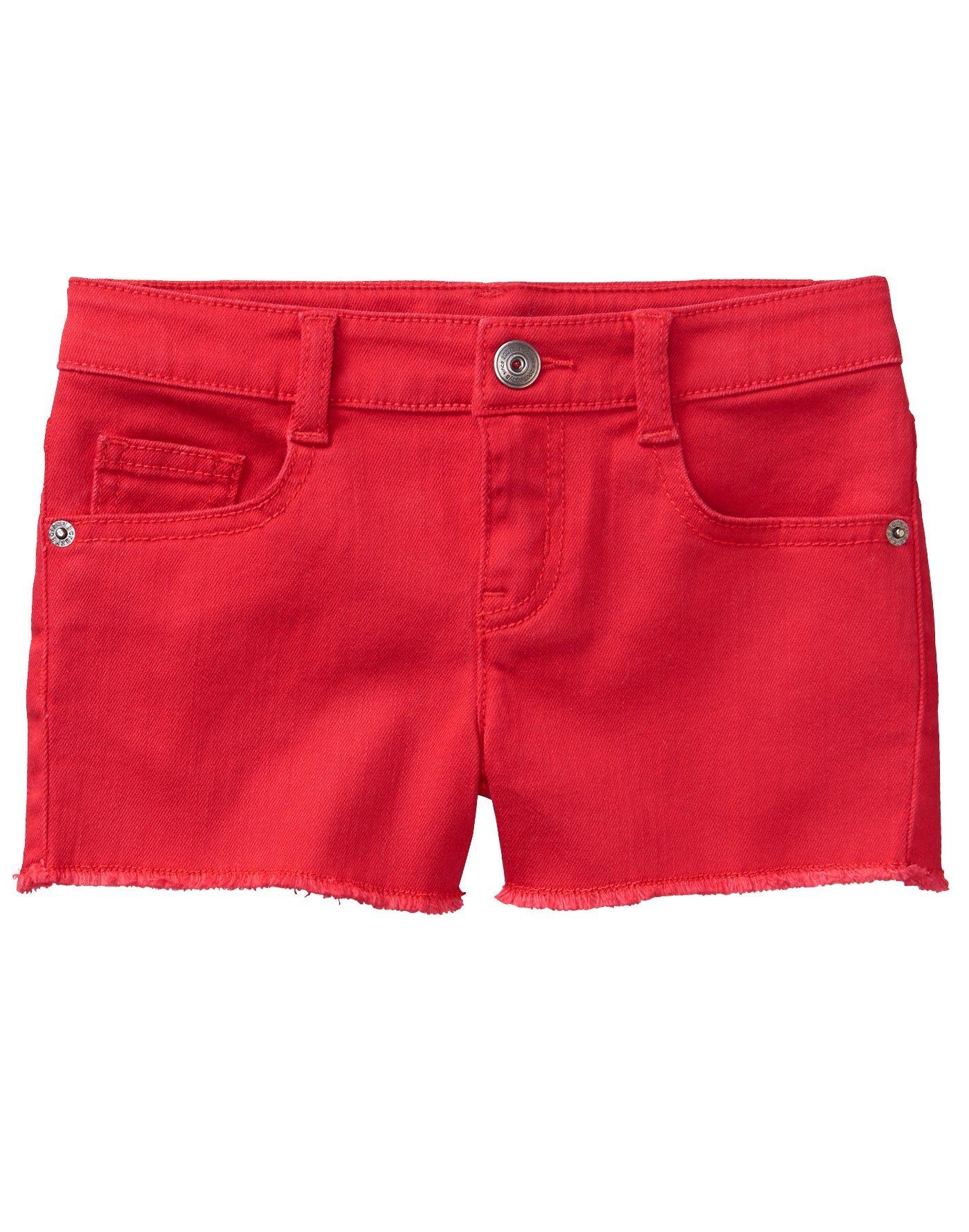 Crazy 8 Little Girls' 5-Pocket Raw Hem Denim Short, Red, 8