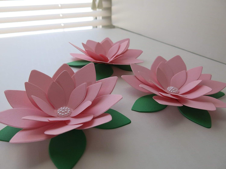 Amazoncom 3 Pink Water Lilies Big 4 Paper Lotus Flowers Baby