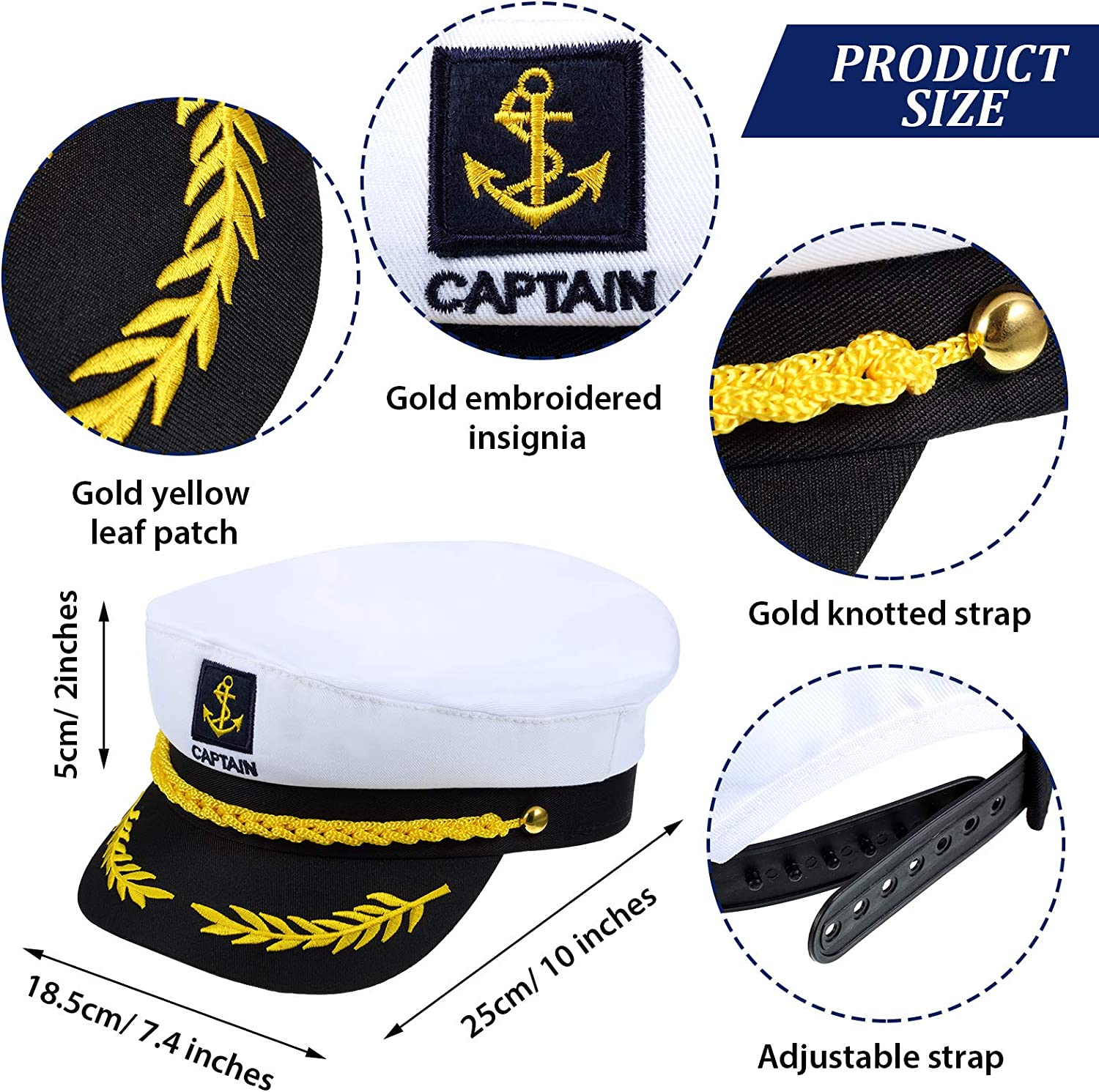 4 Pieces Captain Sailor Costume Set Adjustable Yacht Hat Captain Hat White Sailor Hat Corn Cob Pipes for Women Men Halloween Costume