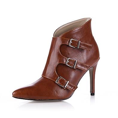 CHMILE Chau-Zapatos para Mujer-Botines-Tobillo Botas de Tacon Alto de Aguja-Hebilla-Sexy-Vestido de Fiesta-Puntera Punteada: Amazon.es: Zapatos y ...