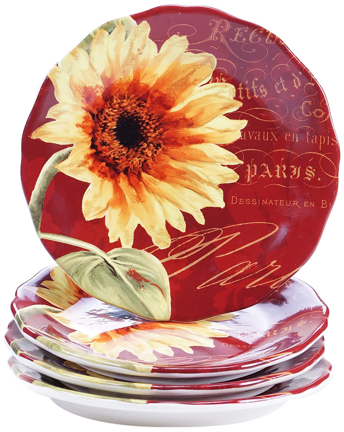 Certified International Paris Sunflower Salad/Dessert Plates (Set of 4), 8.75