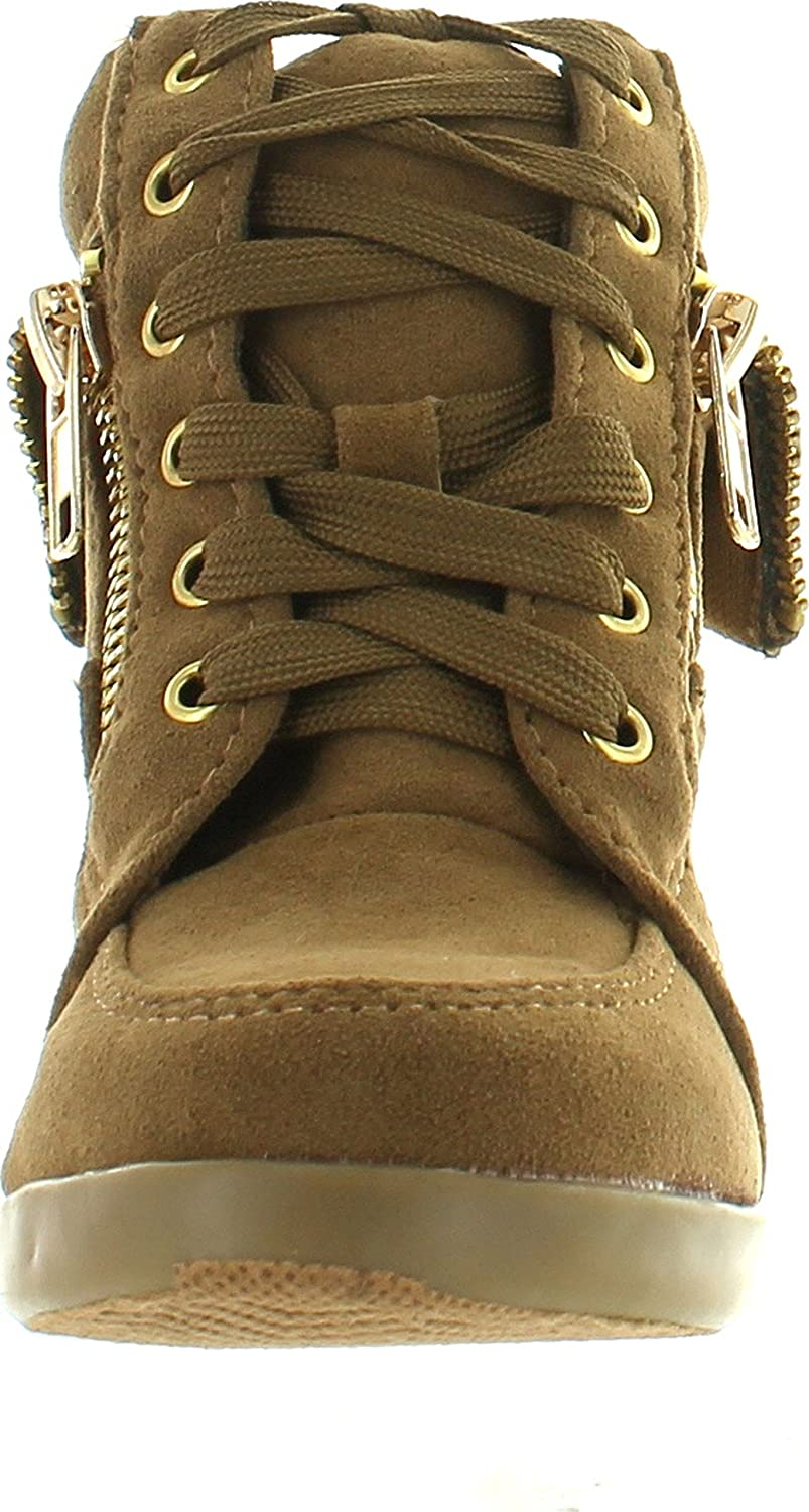 JJF Shoes Peter Gladys24 Kids Tan Fashion Leatherette Suede Lace-up High Top Wedge Sneaker Bootie-9