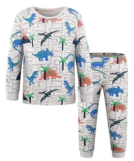 DAWILS Boys Pajamas Set Little Boys Dinosaurs Pjs Toddler 100% Cotton  Sleepwear 2 Piece Kids 93c1bdd77