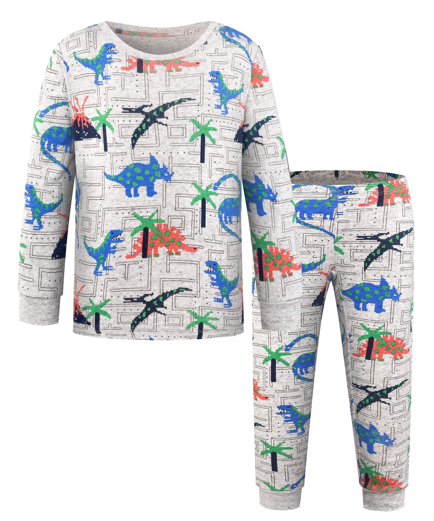 DAWILS Boys Pajamas Set Little Boys Dinosaurs Pjs Toddler 100% Cotton Sleepwear 2 Piece Kids Nightwear Gray Children Clothes 3Years