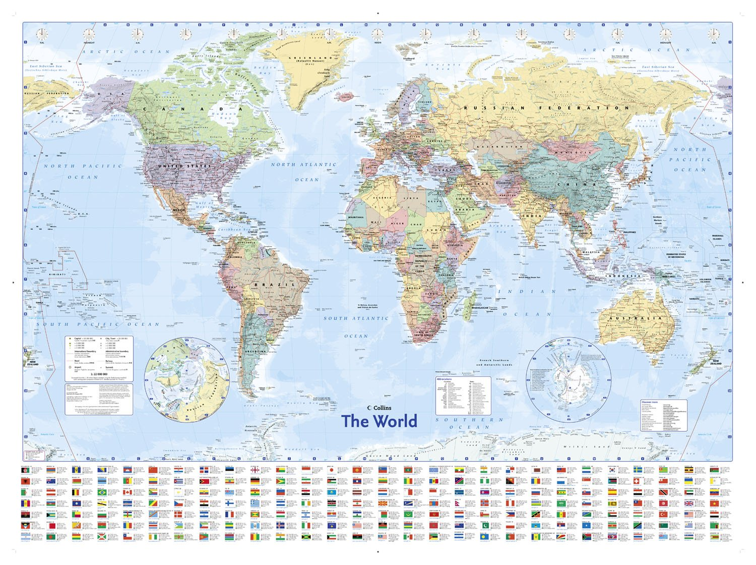 Collins World Wall Laminated Map World Map Amazoncouk - What do political maps show us check all that apply