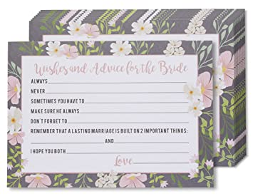 marriage advice and well wishes cards for the new bride wedding reception and bridal shower