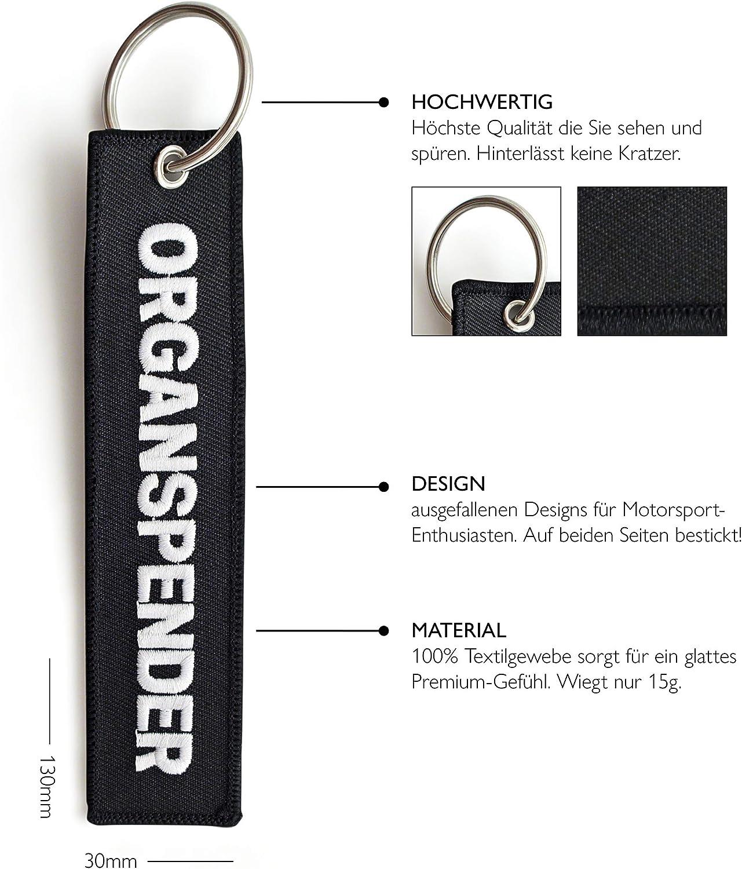 Organspender 130 x 30 mm, schwarz Ideal f/ür Ihr Motorrad RENEGADE Motorrad Schl/üsselanh/änger aus Stoff mit Schl/üsselring Bestickt /& Kratzfest
