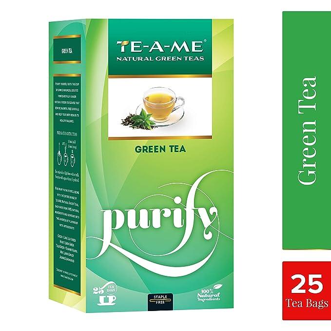 TE-A-ME Green Tea, Natural Green Tea, 25 Tea Bags