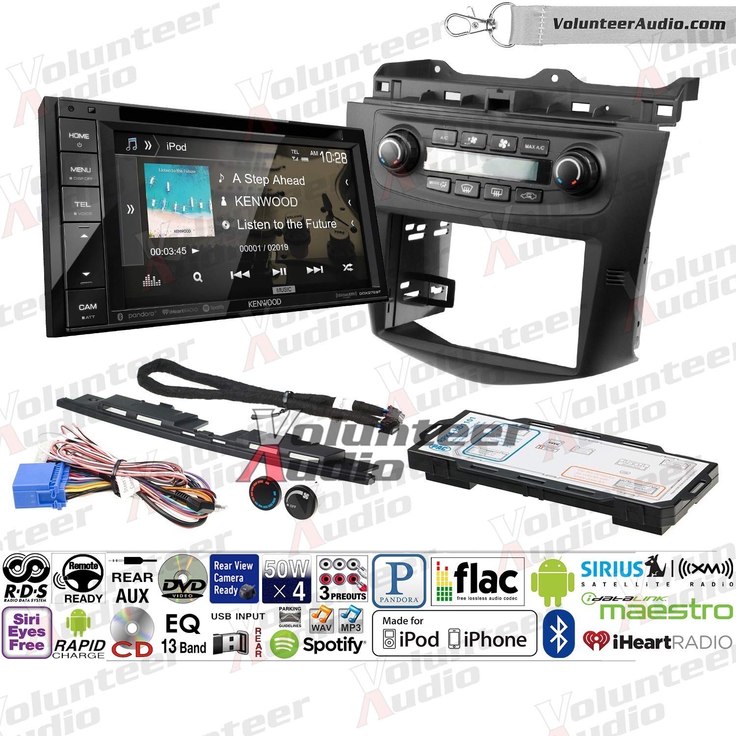 Volunteer Audio Kenwood DDX276BT Double Din Radio Install Kit with Bluetooth, Sirius XM Ready, Touchscreen Fits 2003-2007 Honda Accord (Factory Climate Controls)