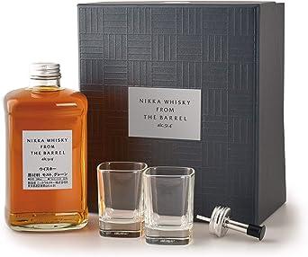 NIKKA From The Barrel - Blended WHISKY japonés - Estuche regalo - Botella 50 cl. + 2 vasos + Dosificador: Amazon.es: Alimentación y bebidas