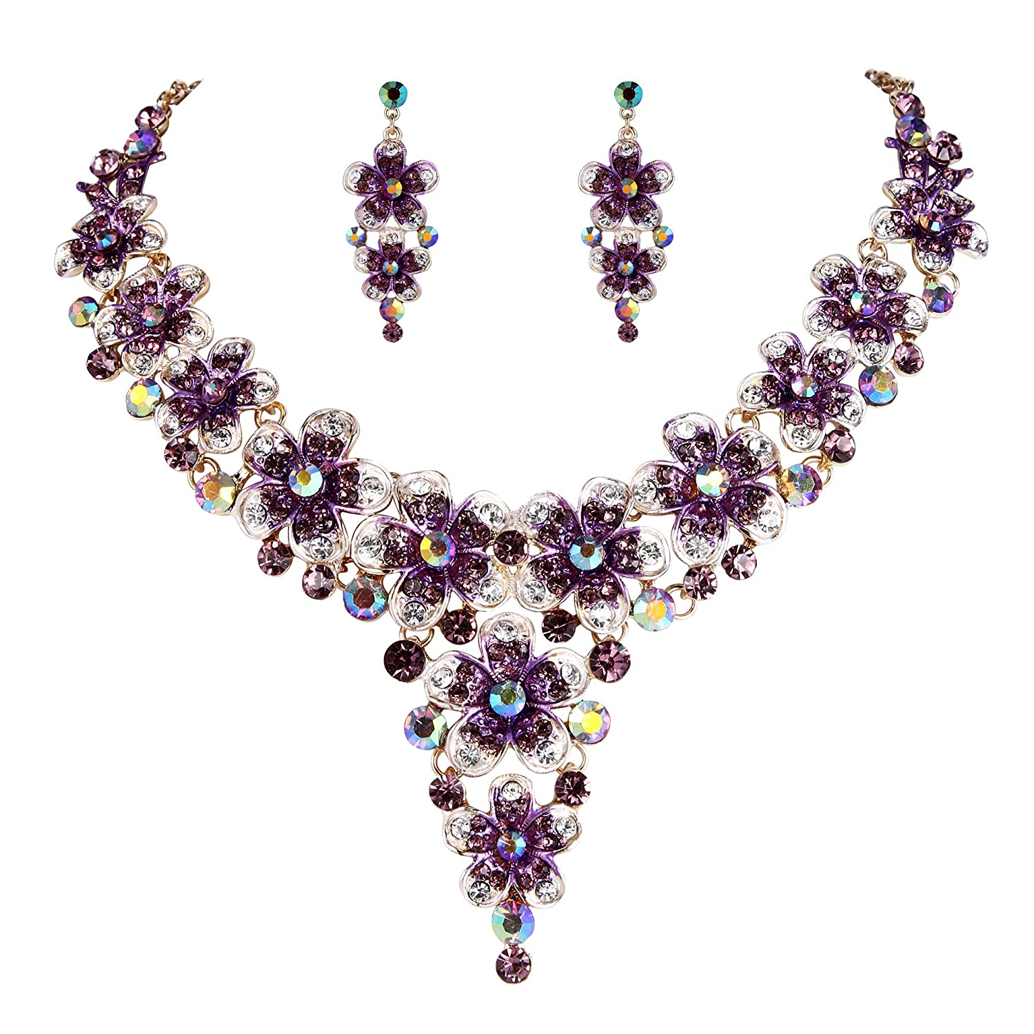 Amazon.com  BriLove Wedding Bridal Necklace Earrings Jewelry Set Crystal  Multi Hibiscus Flower Enamel Statement Necklace Dangle Earrings Set  Amethyst Color ... 1fe30357828e