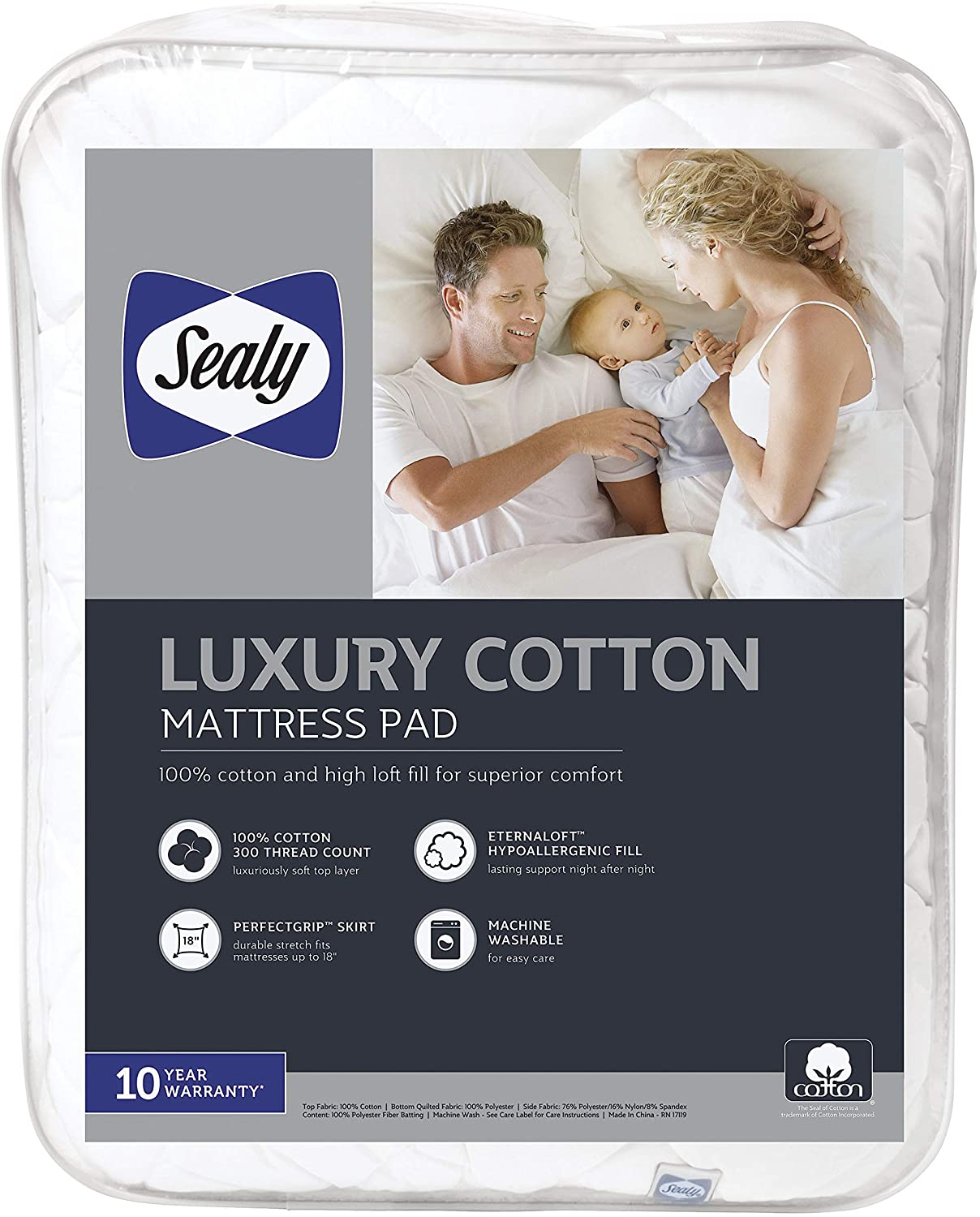 Sealy Luxury 100% Cotton Mattress Pad - Queen