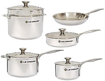 Le Creuset - Batería de cocina de acero inoxidable, 10 unidades ...
