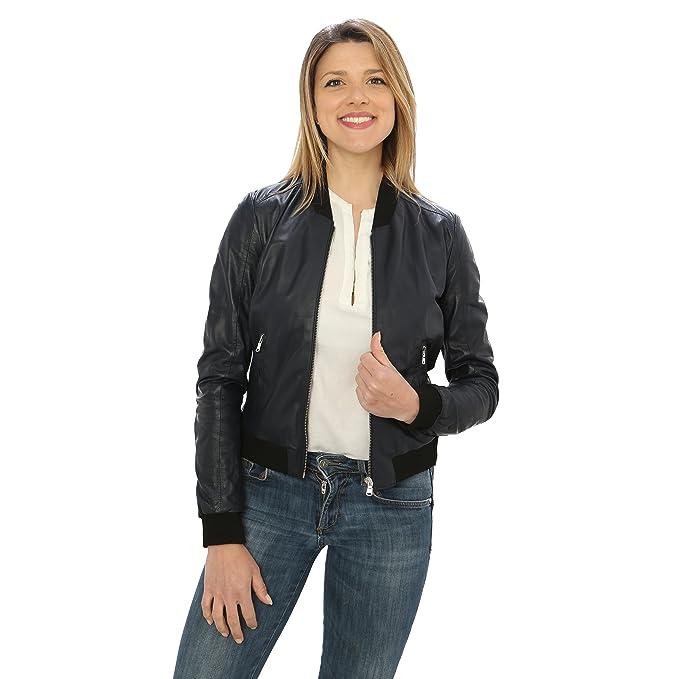 Jacket Chaqueta Bomber para Mujer de Piel Genuina Made in Italy