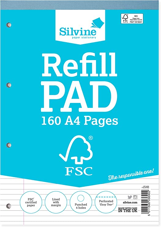 Image of Silvine 160 Page A4 Refill Pad, FSC. Ruled 8mm Feint with Margin - Ref FSCRP80 [Pack of 5]
