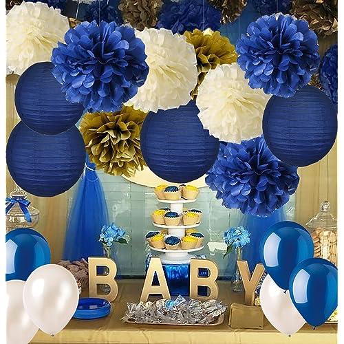 royal blue and gold baby shower decorations. Black Bedroom Furniture Sets. Home Design Ideas