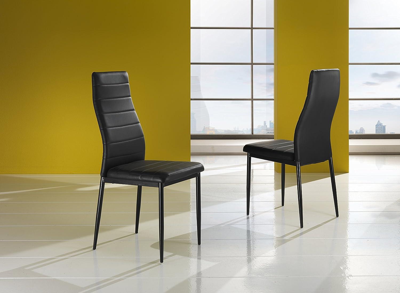 Wink design bridgeport set 4 sedie pelle ecologica nero: amazon