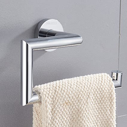 FAUMIX Brass Bathroom Towel Ring Wall Mount Square Open Arm Towel Holder    Chrome Finish