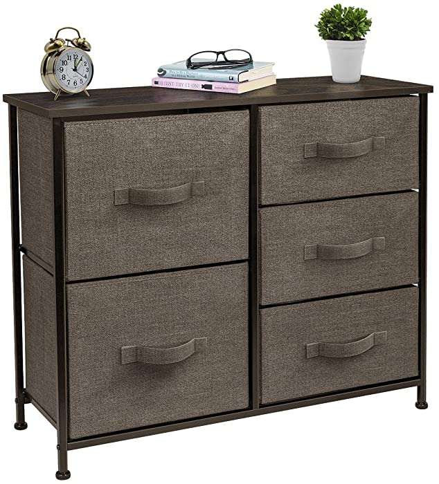 Sorbus Dresser with 5 Drawers - Furniture Storage Tower Unit for Bedroom, Hallway, Closet, Office Organization - Steel Frame, Wood Top, Easy Pull Fabric Bins (Brown)