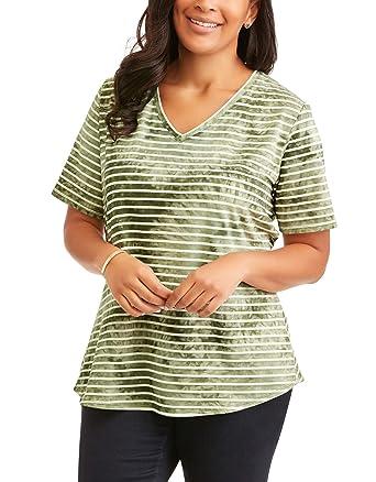 fc7f5f9ab1b Women s Plus Elevated V-Neck Generous Fit Tee Shirt (Sea Turtle Stripe  Green