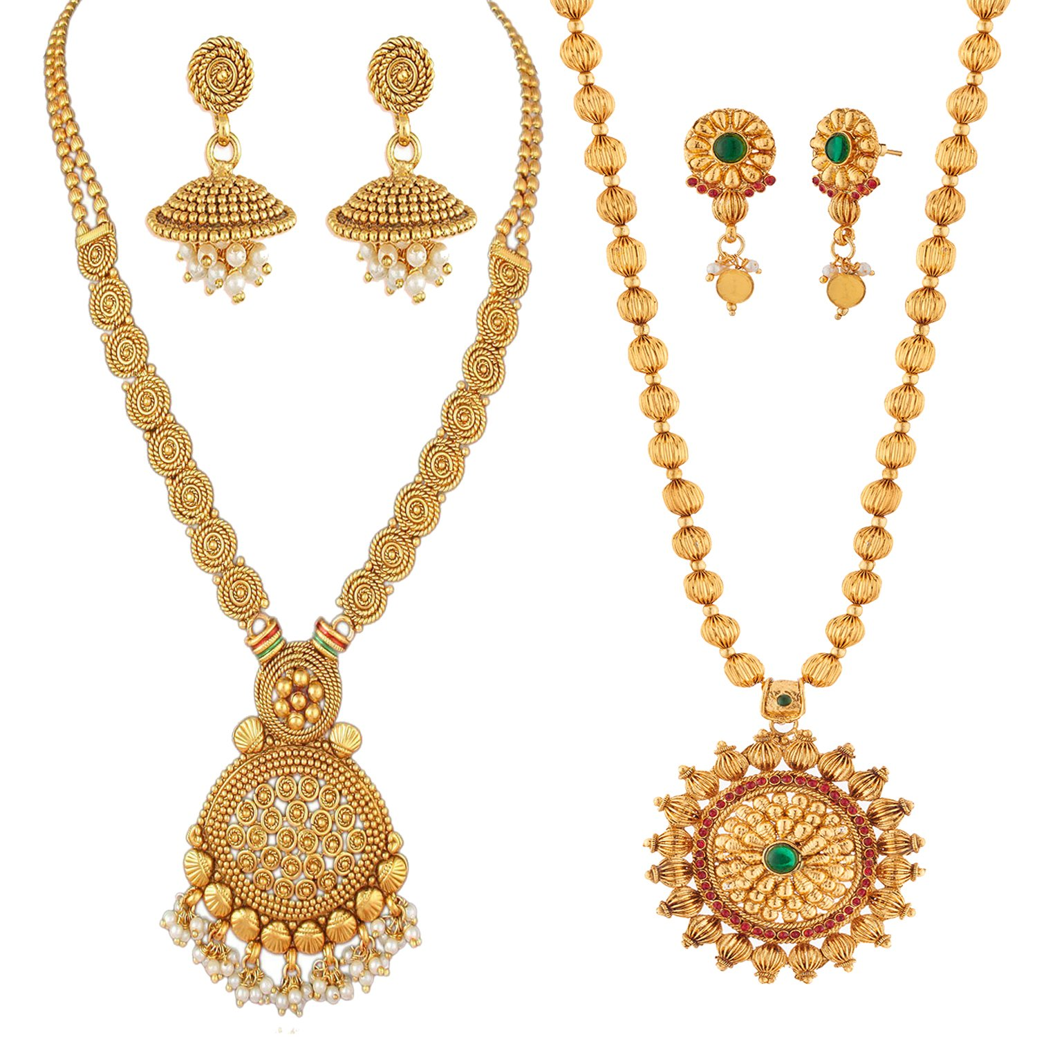 REEVA South Indian Gold-Plated Necklace and Earring Set for