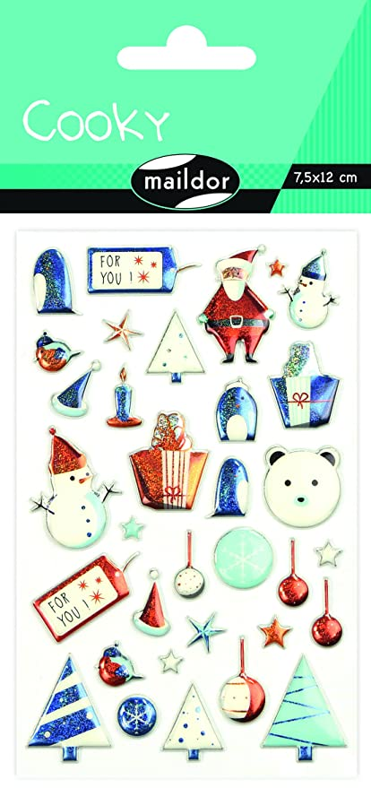Maildor Cooky Navidad para niños Pegatinas, 7,5 x 12 cm, Color Azul ...