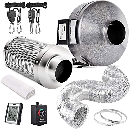 iPower GLFANXSETINLINE8D25RHCTR 8 Inch 750 CFM Inline Fan Carbon Filter 25 Feet Ducting Combo with Variable Speed Controller Rope Hanger and Humidity Monitor for Grow Tent Ventilation, Kits, Silver