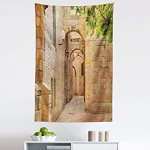 "Lunarable Landscape Tapestry, East Orient Israel Jerusalem Architecture Streets Houses Image Art Photo, Fabric Wall Hanging Decor for Bedroom Living Room Dorm, 30"" X 45"", Camel"