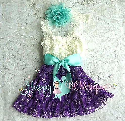 9a07a75df Amazon.com  Baby Girl Ivory Aqua Purple Lace Dress set