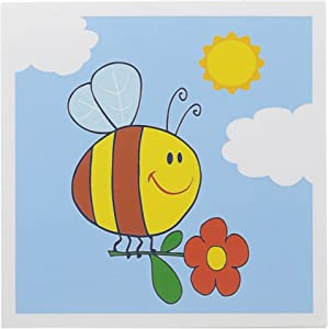 3dRose Cute Honey Bee Holding Flower Happy Summer Cartoon Nature Design - Greeting Cards, 6 x 6 inches, set of 12 (gc_116882_2)