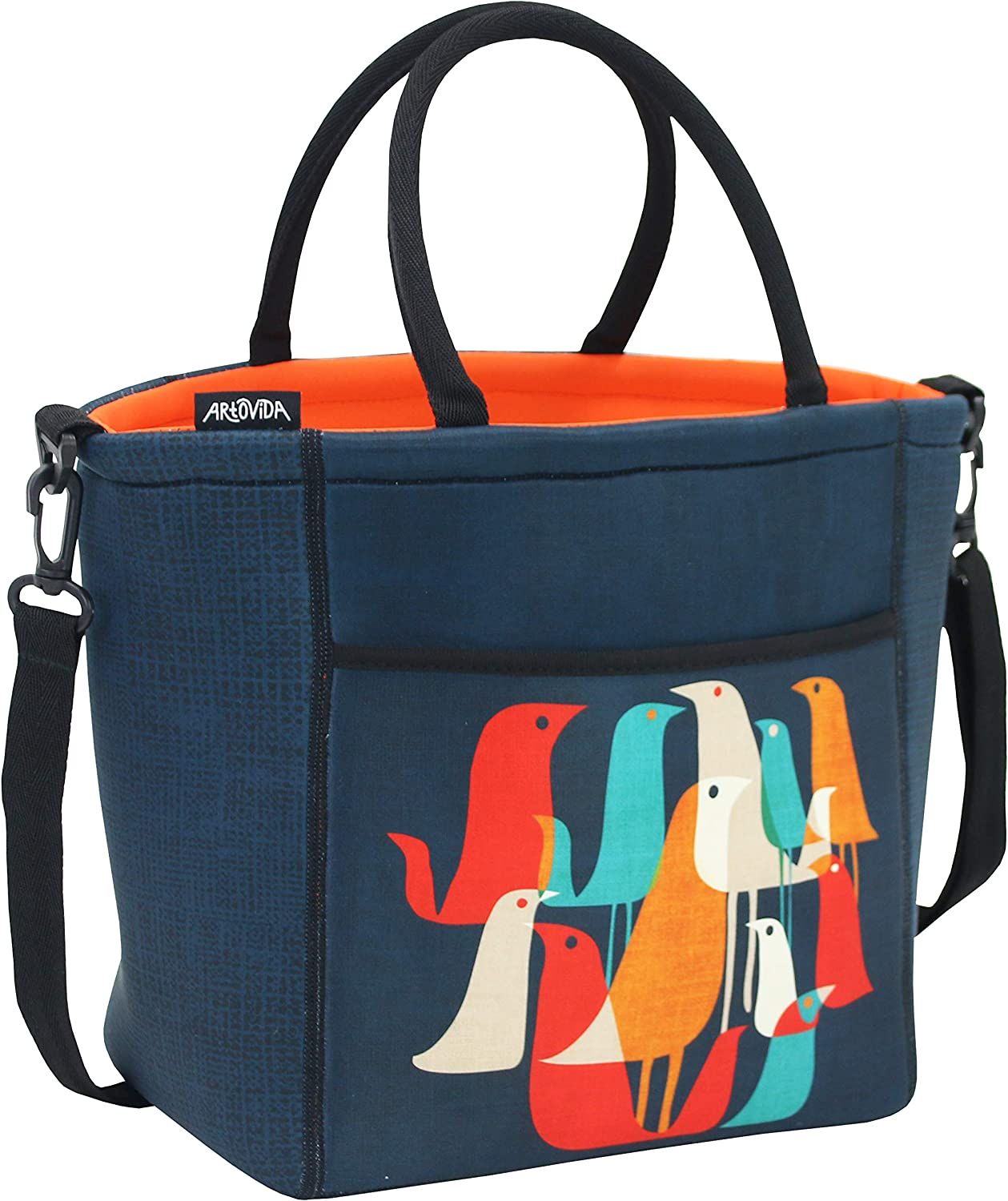 ARTOVIDA Tica Collection | Premium Extra Large Neoprene Lunch Bag Purse with Shoulder Strap & Pockets | Reusable Insulated Tote for Women, Work and School | Budi Kwan from Indonesia - Flock of Birds