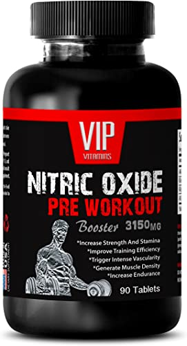Nitric Oxide Powder Supplement – Nitric Oxide Pre-Workout Booster 3150mg – with L-Arginine 1 Bottle 90 Tablets