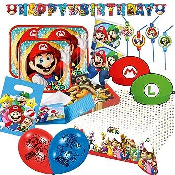 76 de piezas Super Mario - Platos, vasos y servilletas ...