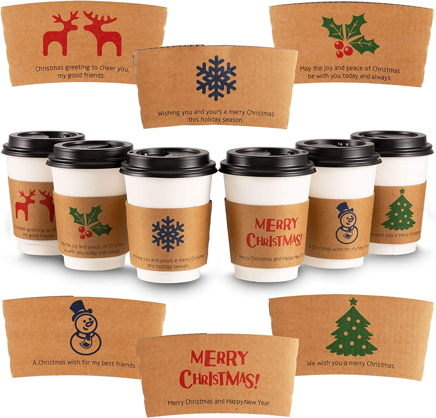 Whaline Christmas Coffee Cup Tea Cup Sleeves 30 Pack Kraft Disposable Paper Cup Sleeves 6 Designs for 12 and 16oz Corrugated Cup Paper Jacket for Hot Chocolate Cocoa or Cold Beverage