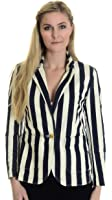 Juicy Couture Women's Awning Stripe Jacket in Angel/Regal