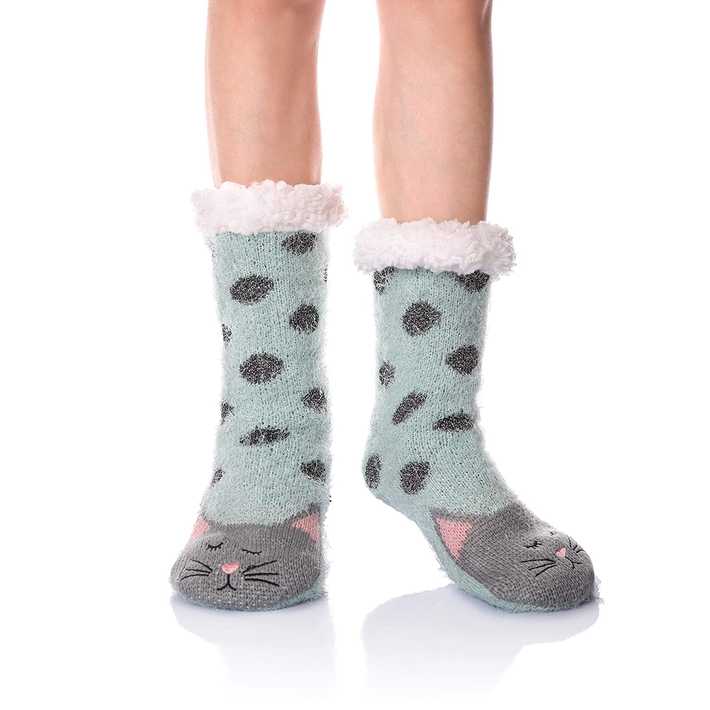 Women Girls Soft Warm Fuzzy Home Socks Cozy Cute Animal Winter Thermal Slipper Socks