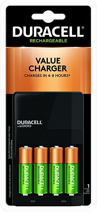 Duracell Duracell - Ion Speed 1000 Battery Charger with 4 AA Batteries - Charger for AA and AAA Batteries General Purpose Batteries & Battery Chargers at amazon
