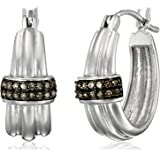 Sterling Silver Natural Brown Diamond Hoop Earrings (1/4cttw, I2-I3 Clarity)