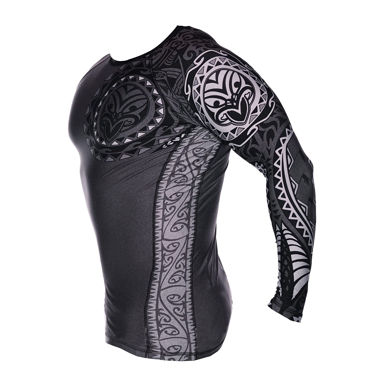 Dirty Ray Arts Martiaux Tribal NZ Maori Edition t-shirt manche longue rashguard homme RG6LS