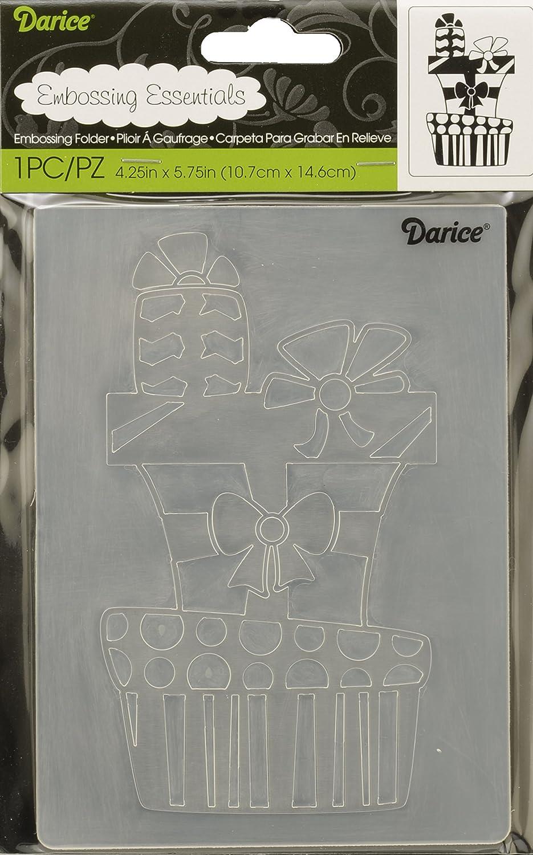 Darice Embossing Folder Cartella per Goffratura Mascherina Pila di Regali, 10.8x14.6x0.3 cm, 1219-200