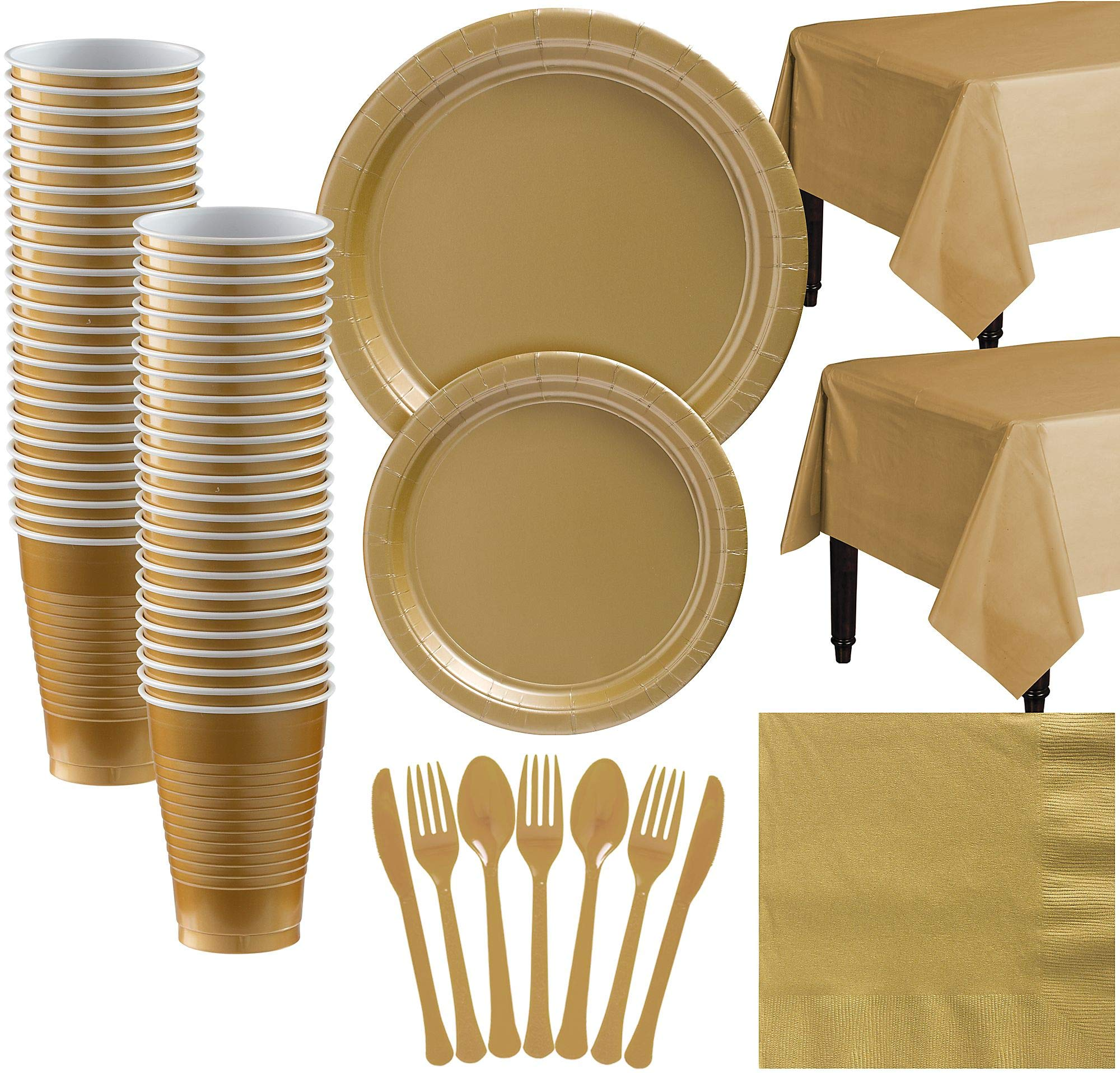Amscan Gold Paper Tableware Kit for 50 Guests, Party Supplies Set, Includes Plates, Cups, Table Covers and More