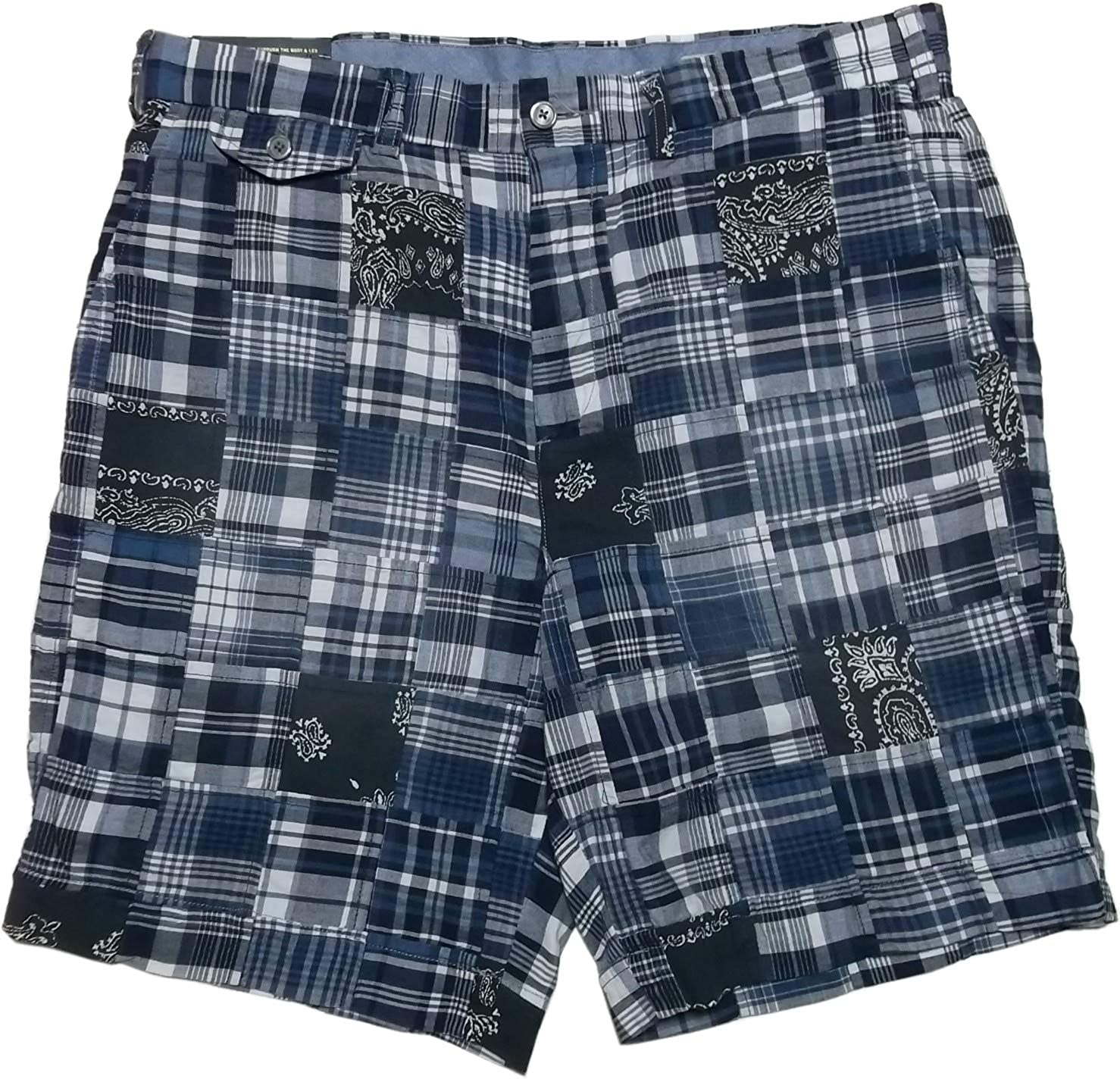 759c93f35f43cb RALPH LAUREN Polo Men's 9 Patchwork Madras Plaid Shorts Size 34 Indigo Multi  ab2246