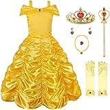 JerrisApparel 公主贝儿露肩多层服装连衣裙适合小女孩