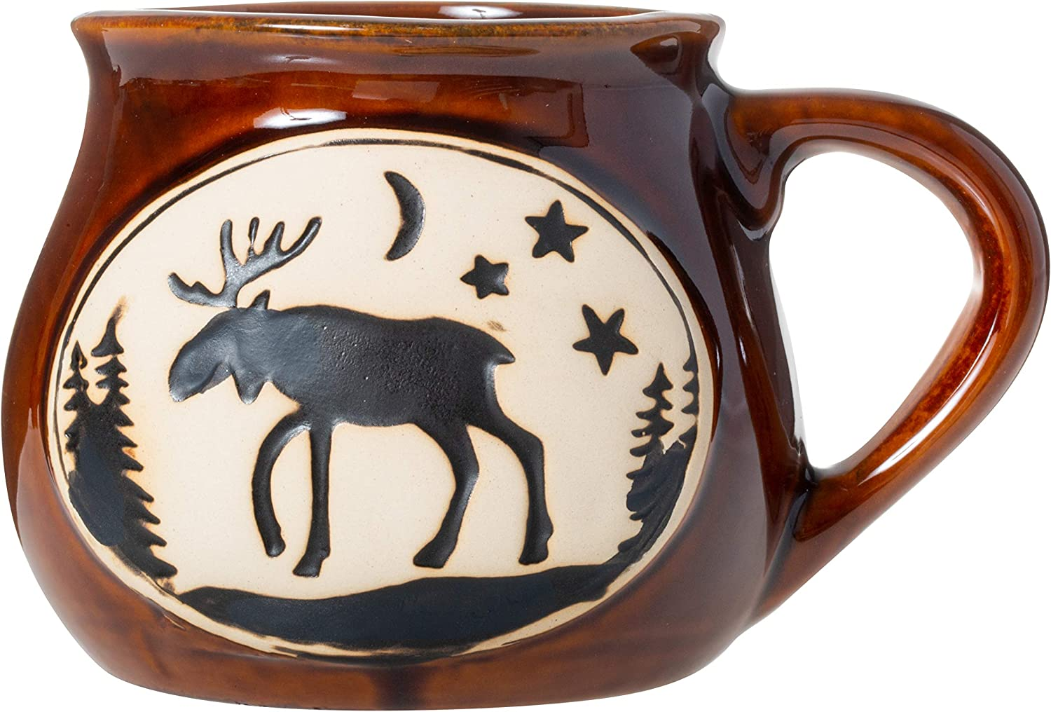 Cape Shore Handcrafted Bean Pot Stoneware 16oz Mug, Multiple Styles Available (Moose)