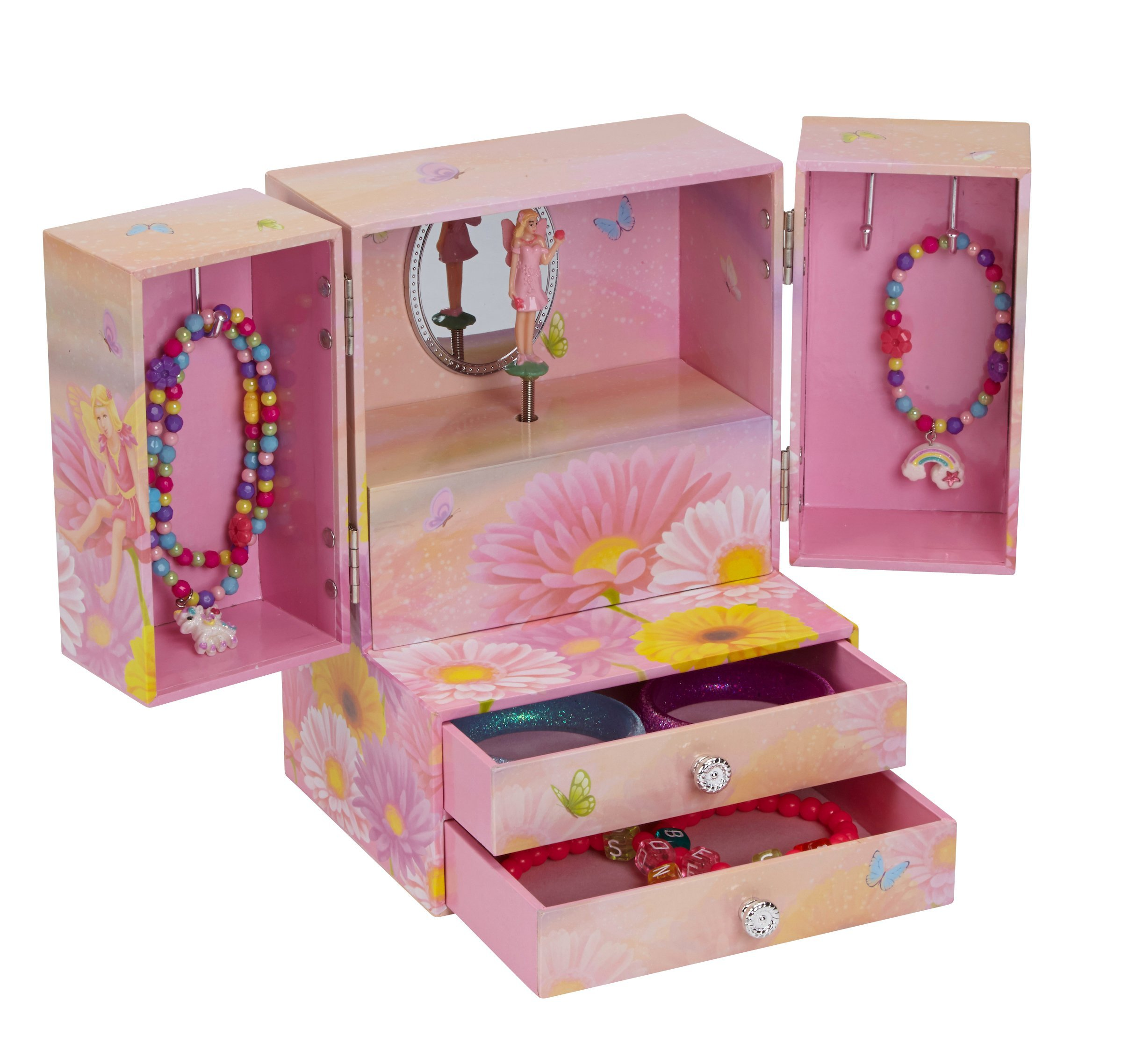 JewelKeeper Musical Jewelry Armoire with 2 Pullout Drawers and Twirling Fairy, You Are My Sunshine Tune
