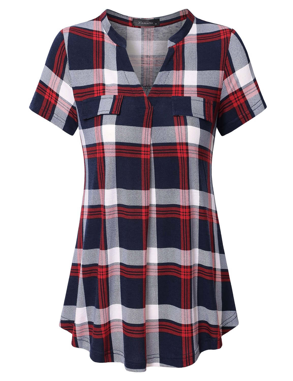 Vinmatto Women's Henley V Neck Short Sleeve Casual Plaid Tunic Shirt(XXL,Plaid Red)